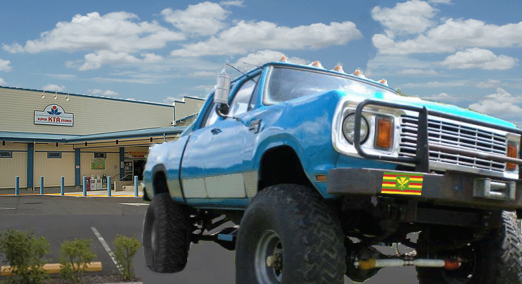Hilo KTA and blue monster pickup truck